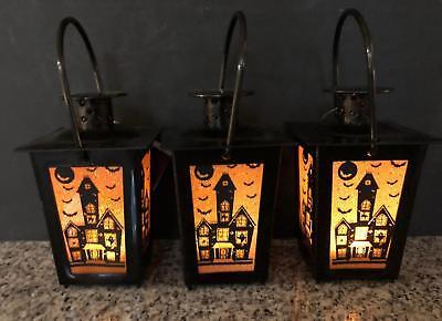 3 Plastic Flicker LED Glitter Shadow HAUNTED HOUSE Lanterns Halloween - Halloween Shadow Lantern