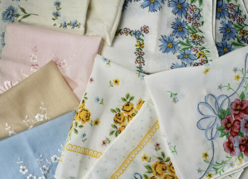 Lot of 12 Vtg Floral Print Hankies Handkerchief Mostly New Scalloped Embroidery