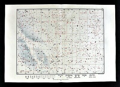 Aequinoctium 1925.0 Equinox Star Map Astronomy Chart North Sky Hercules Bootes