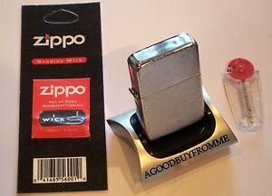 Brushed-Chrome-Dora-Petrol-Lighter-Free-Zippo-Wick-6-Flints-UK-Seller