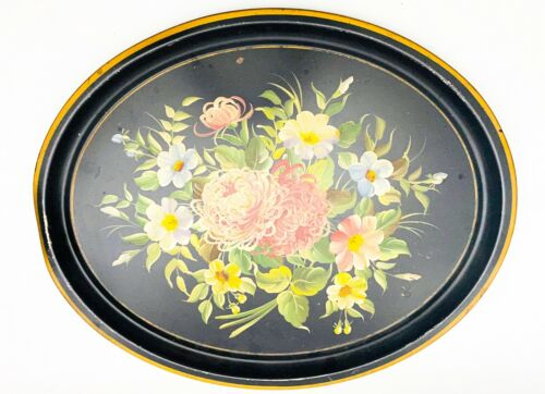 Antique Pennsylvania Folk Art Large Tole Ware Painted Metal Floral Serving Tray