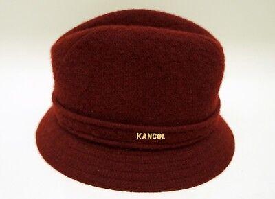 (KANGOL Hat Fedora Mens Size Small Maroon Wine 100% Wool Trilby)