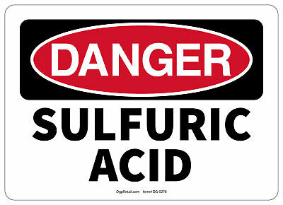 Osha Danger Safety Sign Sulfuric Acid