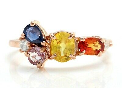 1.36 Ct Natural Ceylon Multi-Color Sapphire and Diamonds in 14K Rose Gold Ring ()