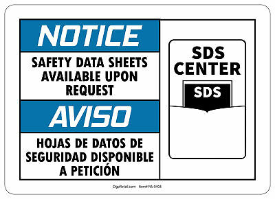 OSHA NOTICE SAFETY SIGN SAFETY SHEETS AVAILABLE UPON REQUEST SPANISH  - Osha Safety Sheets