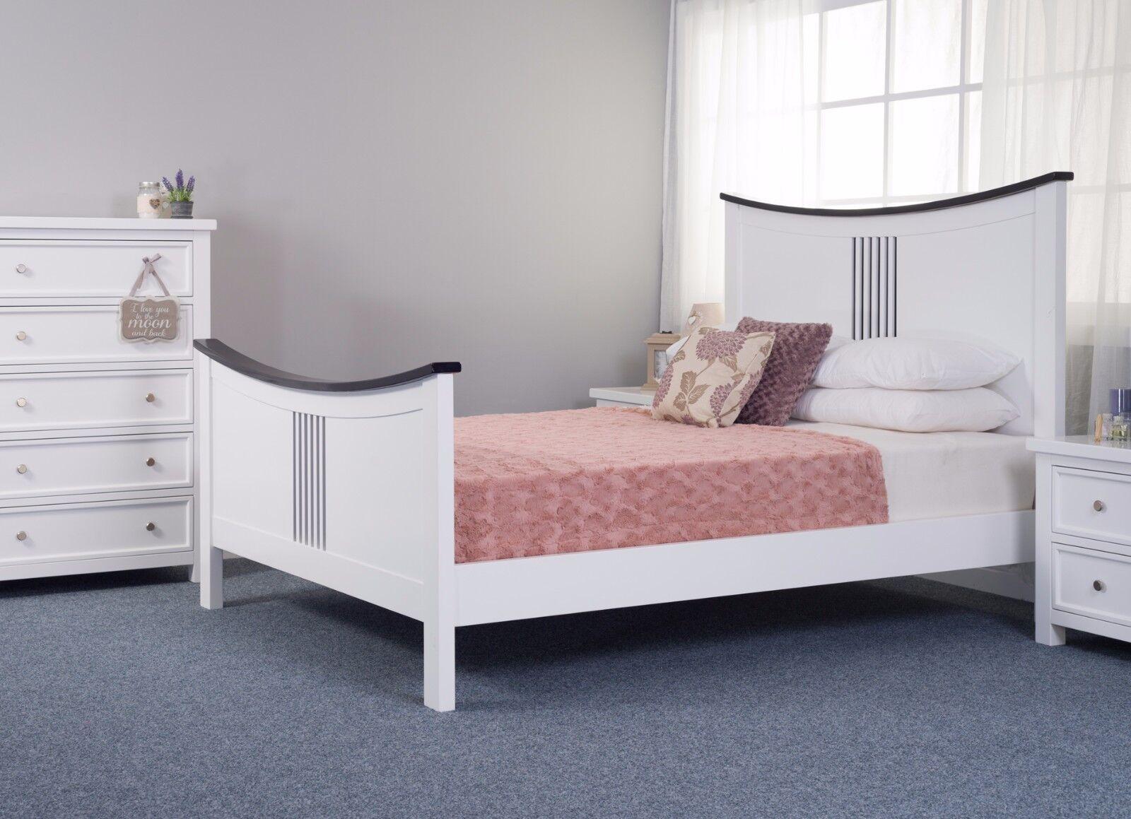 Kane Solid Wood Bed Frame White And Black Shaker Style Various Sizes Ebay