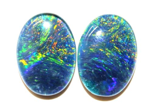 14x10mm Loose Stones Pair Of Natural Black Triplet Opal Stones For Earring #29
