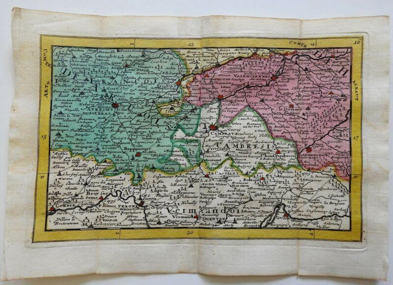 Flanders Cambresis Artois Arras Valenciennes Cambrai 1737 De Lat engraved map