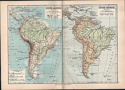 1895 VICTORIAN MAP ~ SOUTH AMERICA PHYSICAL & POLITICAL LAND HEIGHTS BRAZIL PERU