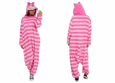 Furry Cheshire Cat Costume (Disney Alice in Wonderland Cheshire Cat Hooded Adult Soft Furry Pajamas)