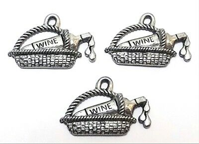 Set of Three (3) Pewter Wine Bottle in Basket Charms-5446 - Wine Charms In Bulk
