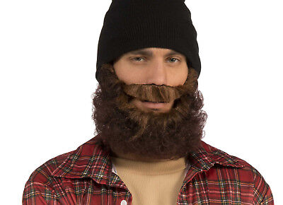 BROWN CURLY BEARD WITH ATTACHED MUSTACHE  ADULT HALLOWEEN COSTUME ACCESSORY