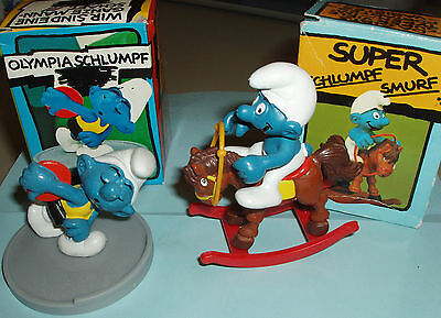 #10 LOT of TWO Vintage SUPER SMURF ROCKING HORSE  and DISCUS THROWER SMURFS