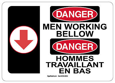 Osha Danger Safety Sign Men Working Below Bilingual French