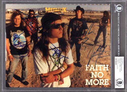 FAITH NO MORE Band Mike Patton +4 Signed Auto 8x10 Photo Beckett BAS SLABBED