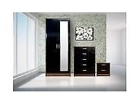 brand newblack gloss & walnut 3 piece bedroom set