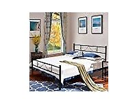 Metal double bed frame in black