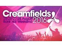 x2 Creamfields Tickets 4 Day Silver Package GLASGOW, FALKIRK, EDINBURGH, LIVINGSTON