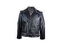 Mens 100% Real Leather Brando Style Classic Retro Biker Jacket Black