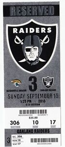 oakland raiders vs jacksonville jaguars ticket stub 9 15 13 ebay. Cars Review. Best American Auto & Cars Review