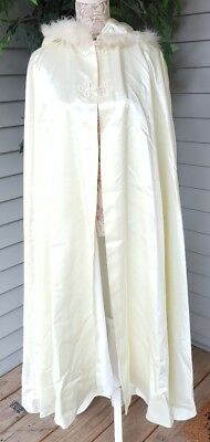 Vtg Long White Satin Fur Trim Bridal Hooded Cape Ice Princess Halloween - White Cape Halloween Costume