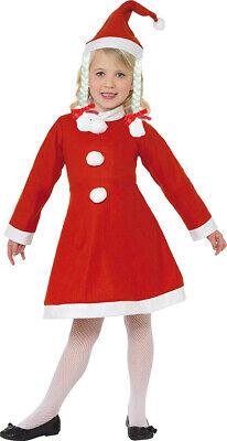Vestito natalizio bambina costume babbo natale 9-11 anni con cappellino treccine