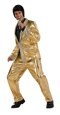 Elvis Presley Gold Lamé Suit 50's Sequin Dress Up Halloween Deluxe Adult Costume