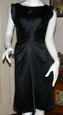 JENNY PACKHAM BLACK EVENING  PURE SILK KNEE LENGTH SATIN PARTRY DRESS/m