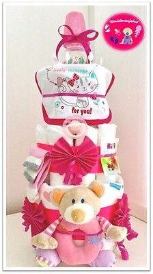 """Windeltorte XL♥""""Baby Rassel""""♥ Geschenk zur Taufe Geburt für Mädchen Windeltorte"""