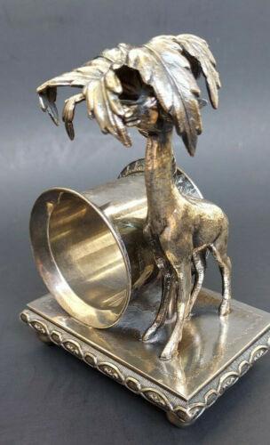 Antique Silverplate Victorian Napkin Ring GIRAFFE UNDER PALM TREE No Mono