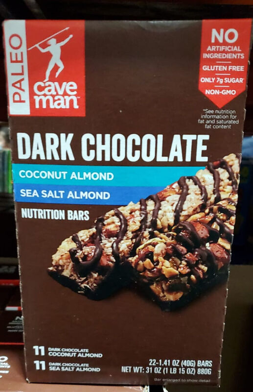 Caveman Dark Chocolate Nutrition Bar Variety Box 22 Bars 31 oz Coconut/ Sea Salt