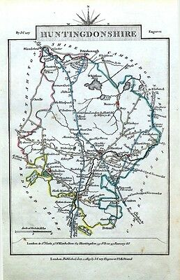 HUNTINGDONSHIRE John Cary Hand Coloured Miniature Antique County Map 1819