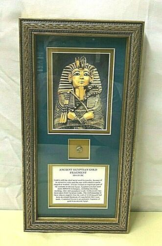 Framed & Matted ANCIENT EGYPTIAN GOLD FRAGMENT ~ 304-30 BC ~ w/ COA