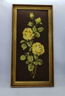 Vintage 70s Wooden Gold Framed Tapestry Artwork Embroidered Yellow Roses