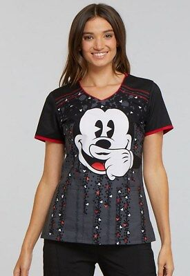 Tooniforms by Cherokee Mickey Mouse V-Neck Print Scrub Top(Moustache)TF686-MKTA
