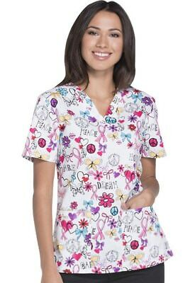 Breast Cancer Scrub Tops (Dickies Breast Cancer Awareness Scrub Print DK704-DTOD (Dare To Dream) )