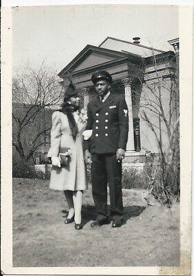 Vintage African-American Man Military Uniform Woman Photo Old Black Americana