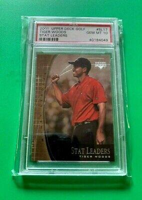 2001 Upper Deck Golf Stat Leaders Tiger Woods PSA 10  ! FIST PUMP !  SUNDAY RED