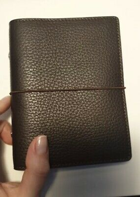 Brown Genuine Leather Rings Notebook A7 Size Silver Binder Agenda Organizer