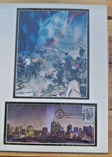 FDNY NYPD 9/11 Ground Zero USPS First Day of Issue HEROES 2001 Stamp Poster Mint