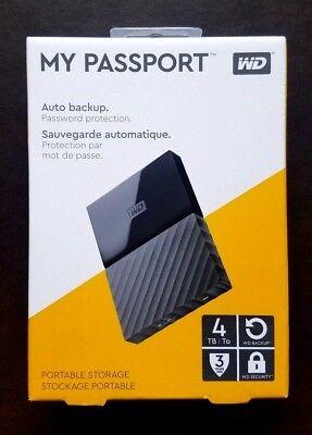 SEALED Western Digital My Passport 4TB Portable Hard Drive USB 3.0 - FAST Ship