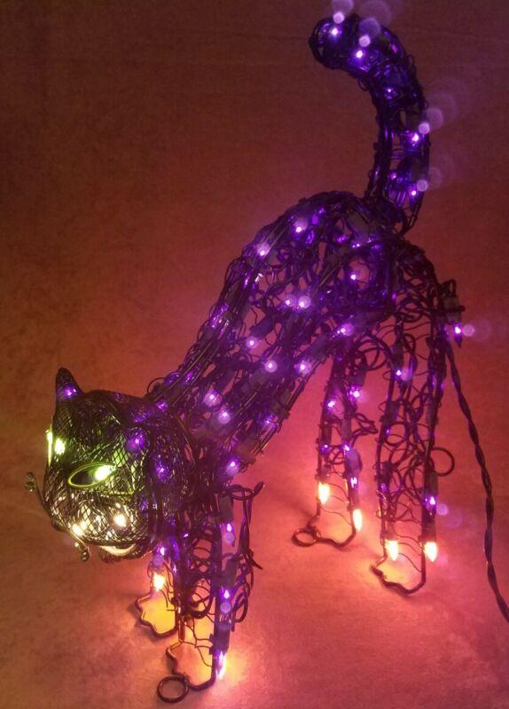 "Lighted Halloween Mesh Cat Sculpture 11 ½"" Tall in Box"