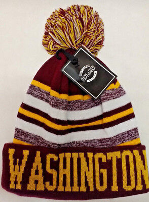 White Washington Hat - Washington Redskins  Team Color Sideline Replica Pom Pom Knit Beanie Hat