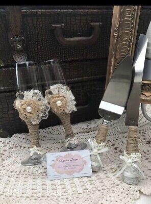 Wedding Pie (Wedding Supplies Cake Knife, Pie Server Set and 2Toasting Champagne)