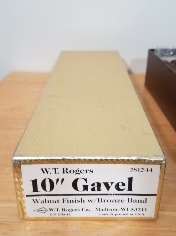 """VTG W.T. Rogers 10"""" Gavel Walnut Finish With Bronze Band New In Box Made In USA"""