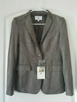 CARINE ROITFELD PARIS uniqlo Blazer Jacket Sz. XS Gray Suede Fitted Long Sleeve (Fitted Suede Blazer)