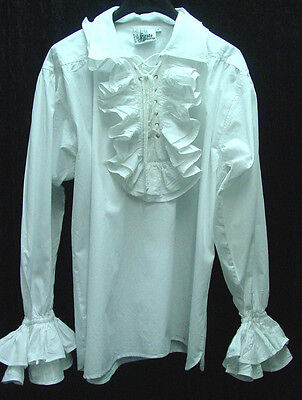 Renaissance pirate ruffled front Gaston RenFaire old west styleshirt cotton S-2X