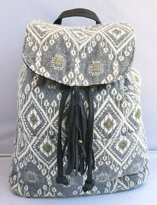 Backpack by Abercrombie & Fitch cream/gray/gold textile