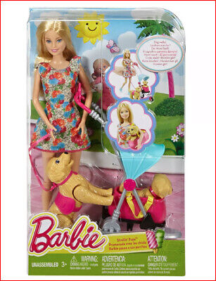 Barbie STROLLIN' PUPS - Taffy Dog & Puppy Stroller Carrier -Blond Barbie NEW