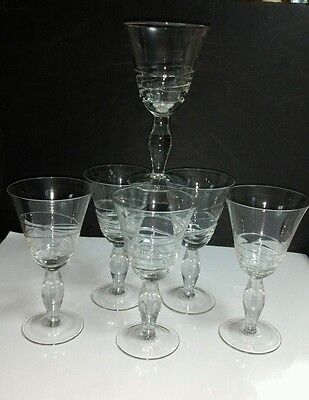 6) Hand Blown Clear Embossed Spiral Twist 12 Oz Water Goblets w/Bulbous Stems